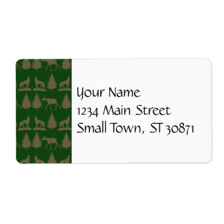 Wild Moose Wolves Pine Trees Rustic Tan Green Shipping Label