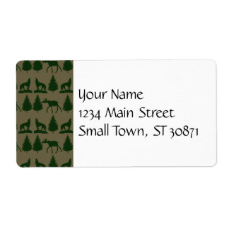 Wild Moose Wolves Pine Trees Rustic Tan Green Personalized Shipping Labels
