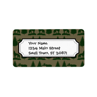 Wild Moose Wolves Pine Trees Rustic Tan Green Personalized Address Label