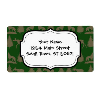 Wild Moose Wolves Pine Trees Rustic Tan Green Shipping Labels