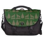 Wild Moose Wolves Pine Trees Rustic Tan Green Laptop Bags