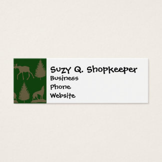 Wild Moose Wolves Pine Trees Rustic Tan Green Mini Business Card