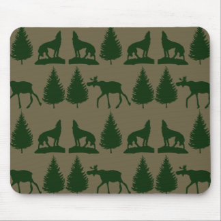Wild Moose Wolves Pine Trees Rustic Tan Green Mousepads