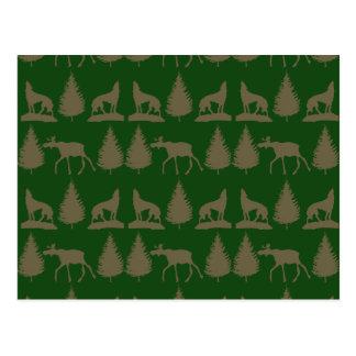 Wild Moose Wolves Pine Trees Rustic Tan Green Postcard