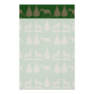 Wild Moose Wolves Pine Trees Rustic Tan Green Stationery