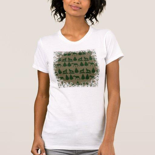 Wild Moose Wolves Pine Trees Rustic Tan Green T-shirt