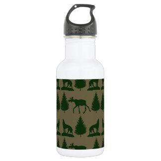 Wild Moose Wolves Pine Trees Rustic Tan Green Water Bottle
