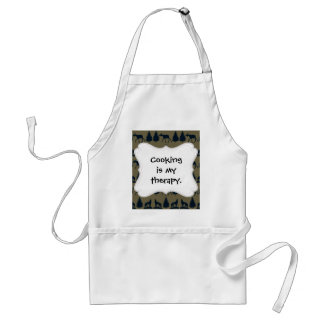 Wild Moose Wolves Pine Trees Rustic Tan Navy Blue Adult Apron