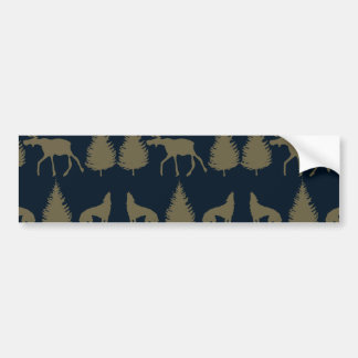 Wild Moose Wolves Pine Trees Rustic Tan Navy Blue Car Bumper Sticker