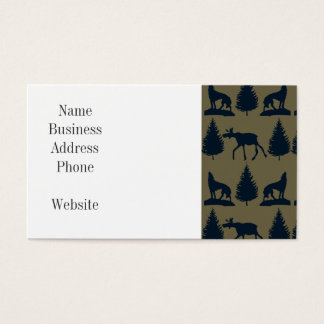 Wild Moose Wolves Pine Trees Rustic Tan Navy Blue Business Card