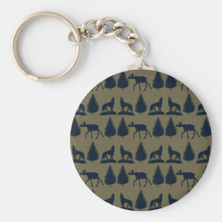 Wild Moose Wolves Pine Trees Rustic Tan Navy Blue Keychain