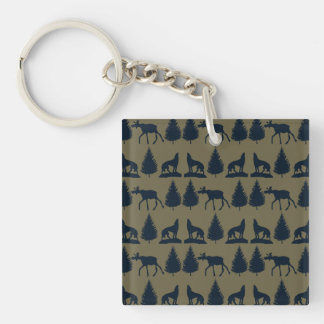 Wild Moose Wolves Pine Trees Rustic Tan Navy Blue Double-Sided Square Acrylic Keychain