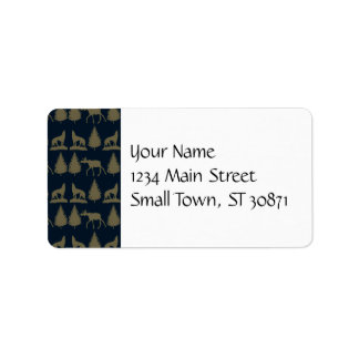 Wild Moose Wolves Pine Trees Rustic Tan Navy Blue Address Label
