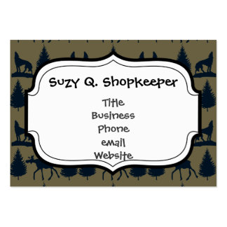 Wild Moose Wolves Pine Trees Rustic Tan Navy Blue Large Business Card