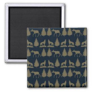 Wild Moose Wolves Pine Trees Rustic Tan Navy Blue Magnet