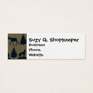 Wild Moose Wolves Pine Trees Rustic Tan Navy Blue Mini Business Card