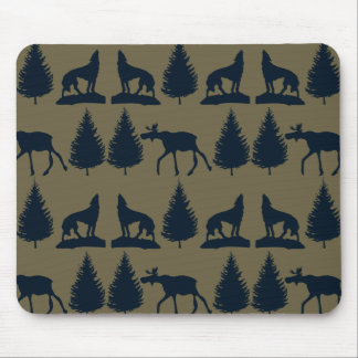 Wild Moose Wolves Pine Trees Rustic Tan Navy Blue Mouse Pads
