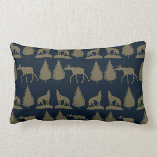 Wild Moose Wolves Pine Trees Rustic Tan Navy Blue Pillow