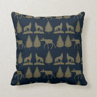 Wild Moose Wolves Pine Trees Rustic Tan Navy Blue Pillows