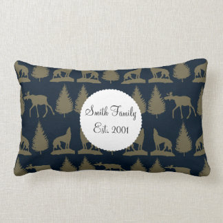 Wild Moose Wolves Pine Trees Rustic Tan Navy Blue Throw Pillows