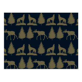 Wild Moose Wolves Pine Trees Rustic Tan Navy Blue Postcard