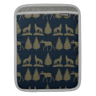Wild Moose Wolves Pine Trees Rustic Tan Navy Blue Sleeve For iPads