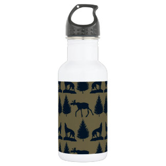 Wild Moose Wolves Pine Trees Rustic Tan Navy Blue Stainless Steel Water Bottle