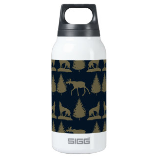 Wild Moose Wolves Pine Trees Rustic Tan Navy Blue Thermos Water Bottle