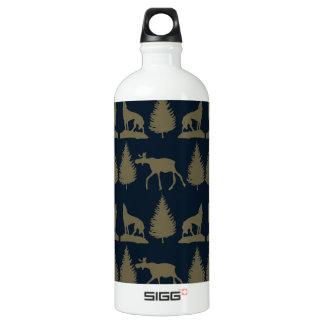 Wild Moose Wolves Pine Trees Rustic Tan Navy Blue Water Bottle