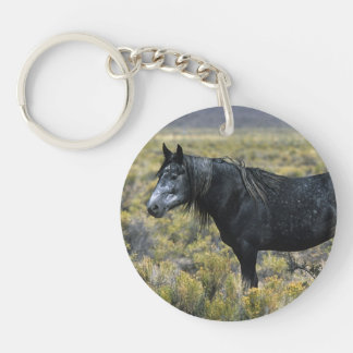 Wild Mustang Horse in the Desert Double-Sided Round Acrylic Keychain