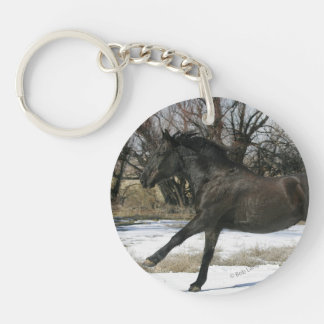 Wild Mustang Horse in the Snow 2 Keychain