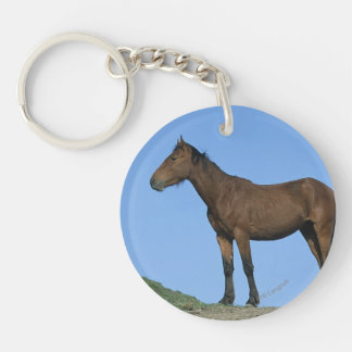 Wild Mustang Horse Double-Sided Round Acrylic Keychain
