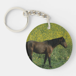 Wild Mustang Horse Standing in Flowers Double-Sided Round Acrylic Keychain