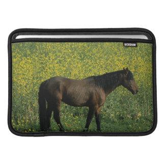Wild Mustang Horse Standing in Flowers MacBook Air Sleeve