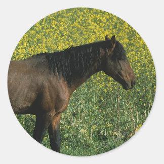 Wild Mustang Horse Standing in Flowers Sticker