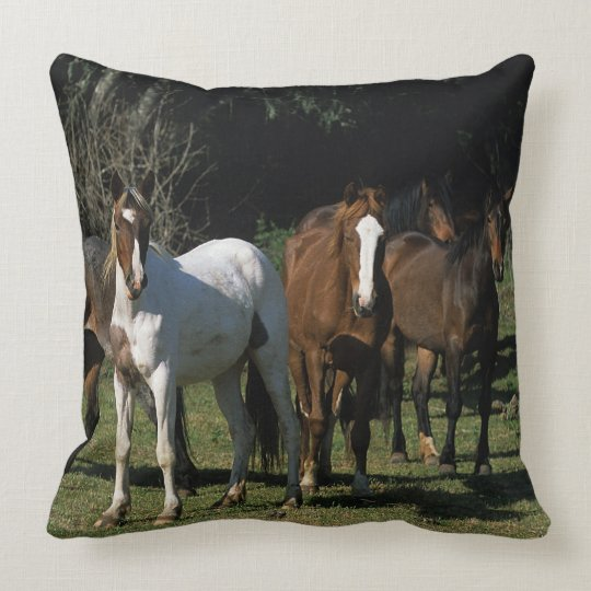 Wild Mustang Horses 1 Throw Pillow