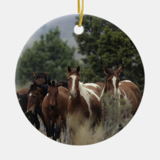 Wild Mustang Horses 2 Ceramic Ornament