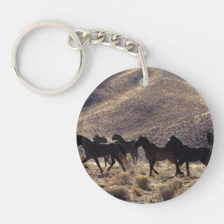 Wild Mustang Horses in the Desert 1 Double-Sided Round Acrylic Keychain