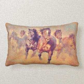 Wild Mustang Horses Stampede Watercolor Lumbar Pillow