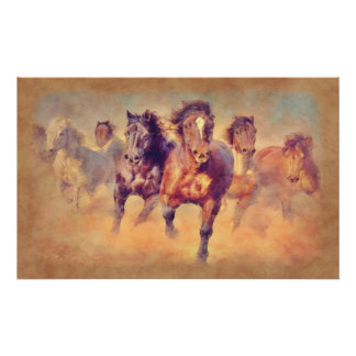 Wild Mustang Horses Stampede Watercolor Poster