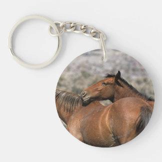 Wild Mustang Horses Touching Keychain