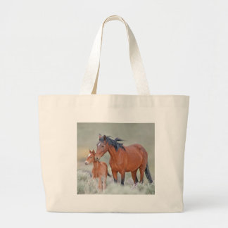Wild Mustang Mare With Colt Large Tote Bag