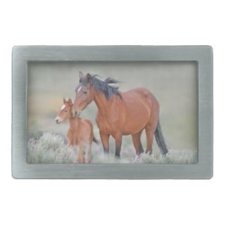 Wild Mustang Mare With Colt Rectangular Belt Buckle