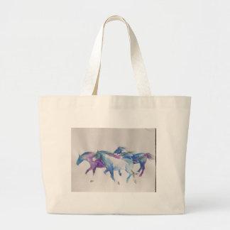 Wild Mustangs in Pastel Large Tote Bag