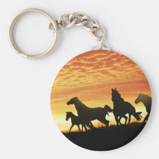 Wild Mustangs Basic Round Button Keychain