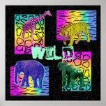 Wild Neon Animals Poster