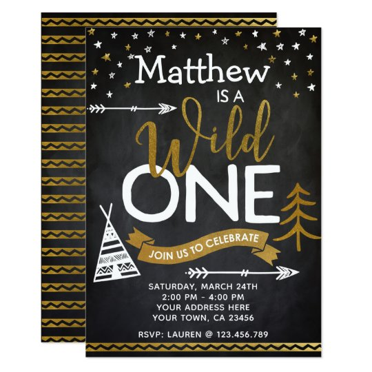 Wild One 1st Birthday Invitation Chalkboard