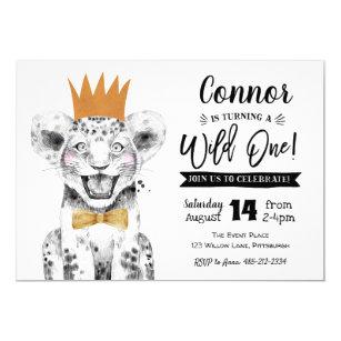 Wild One 1st Birthday Invitation Jungle lion