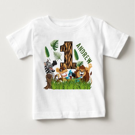 Wild One 1st Birthday Jungle Baby T-Shirt