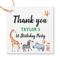 Wild One 1st Birthday Safari Thank You Favor Tags